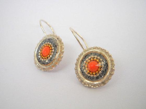 Grey Red  coral earrings