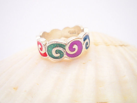 Colorful spirals ring