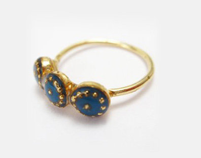 Blue circles band ring