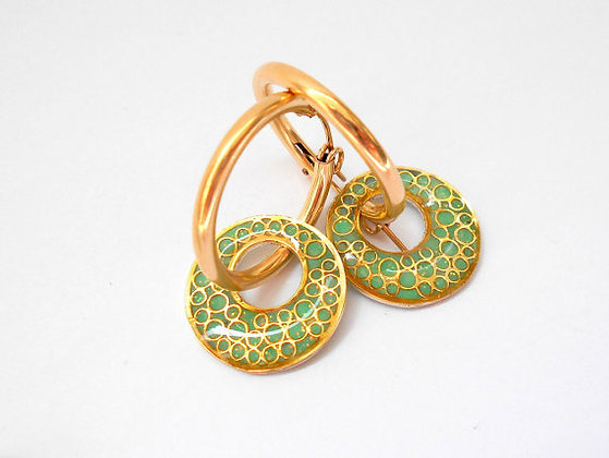 Mint gold hoop earrings