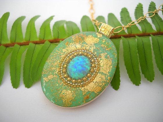 Blue Green Opal pendant