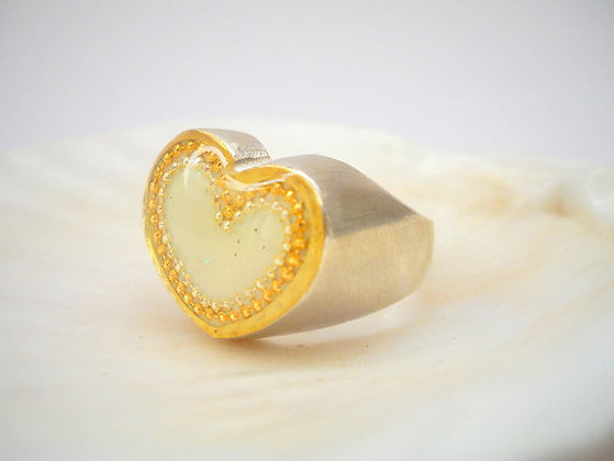 White heart Sterling silver ring