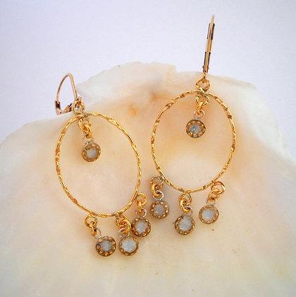 Gold white oriental earrings