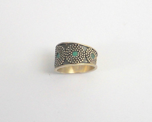 Oxidized Black ring with dotted filigree circles