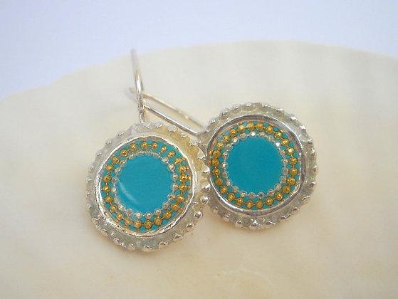 Mint Blue Hook Silver earrings