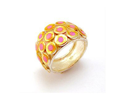 Golden circles ring with pink resin