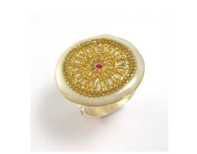 Rounded Ring with gold mandala
