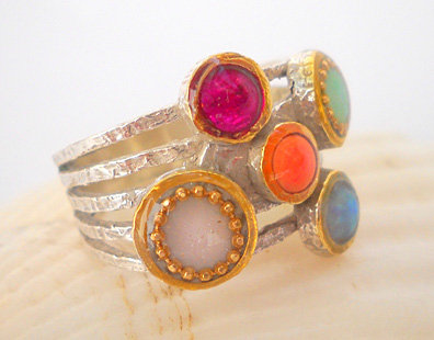 Colorful circles ring in Sterling silver.