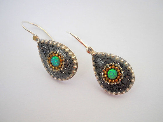 Grey drop earrings with Blue Green Opals