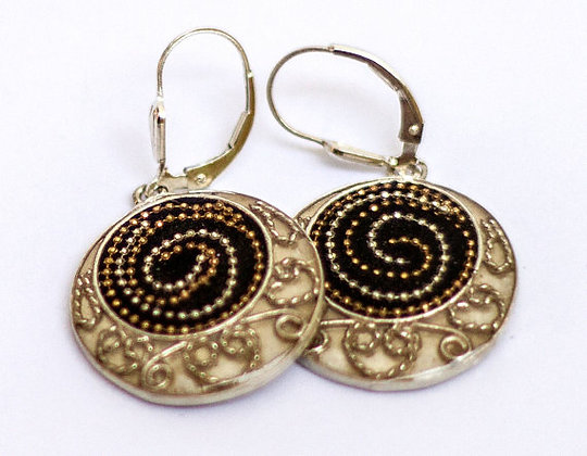 Black Silver earrings with spirals