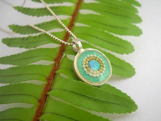 Sparkly Mint opal pendant