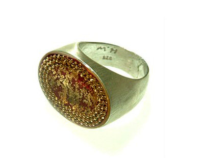 Bourdeaux oval ring with gold foil