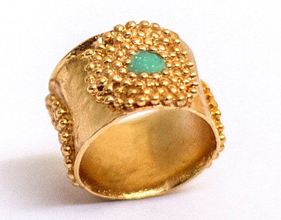 Golden ring with dots circles with Turquoise resin
