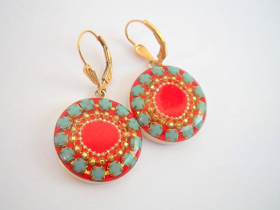 Blue Gold dots concentric circle earrings