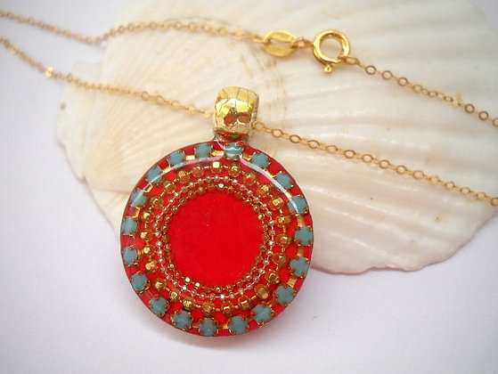 Round Red Sterling silver pendant necklace
