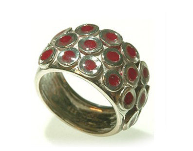 Silver circles ring with red resin