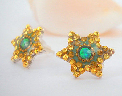 star of david earrings inlaid with turquoise Opal