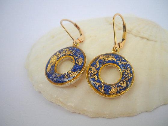 Blue gold donut earrings