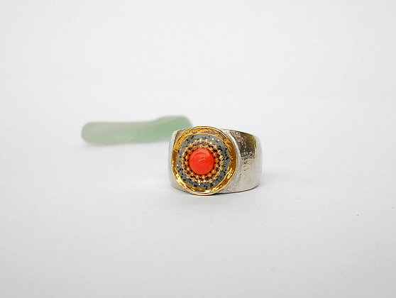 Grey red Coral ring