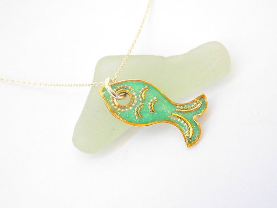 Mint green fish pendant necklace