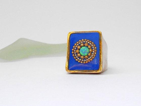 Blue Opal silver ring