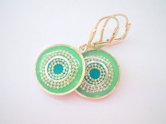 Round Green Sterling silver earrings