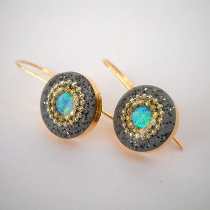 Opal earrings with short hooks