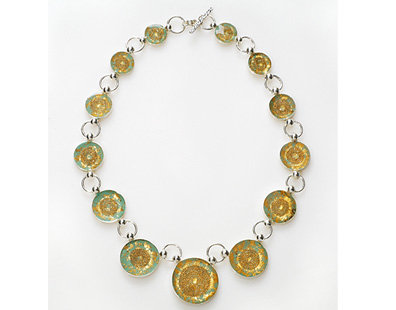 Green &  gold leaves necklace