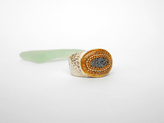 Grey Oval ring dotted ring hammered