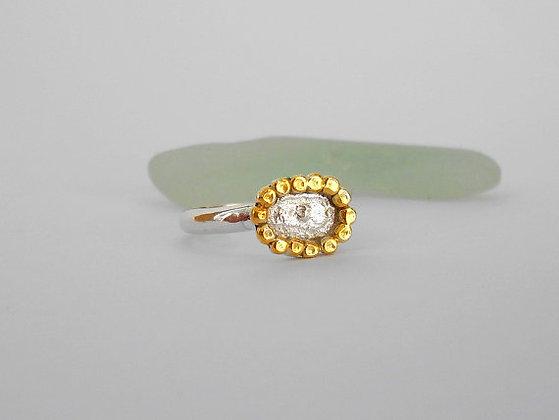 Gold flower sterling silver ring