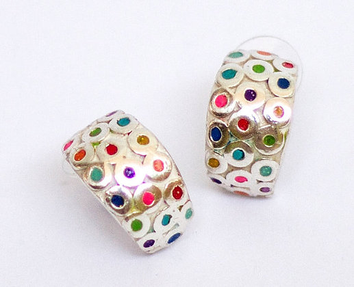 Colorful dots sterling silver earrings