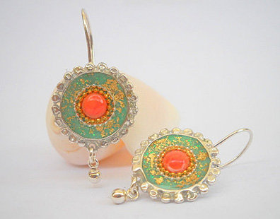 Green Sterling Silver earrings inlaid with Red Cor