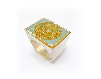 Mint green Square ring