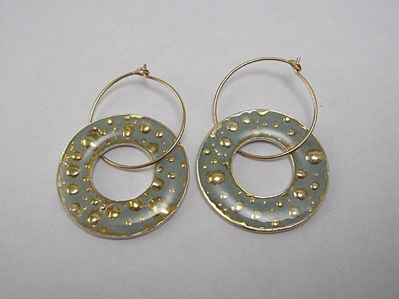 Light blue Hoop earrings with golden bubbles
