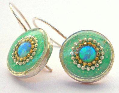 Blue green earrings with opal
