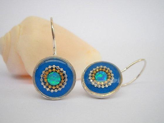 Blue Green opal earrings