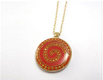 Gold dots spiral with red pendant necklace