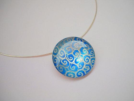 Blue spirals Sterling silver pendant