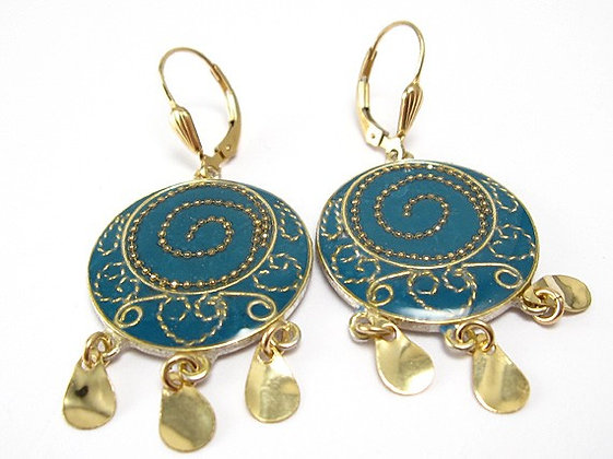 Blue spiral Ethnic earrings