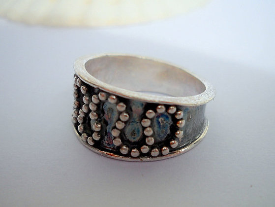 Dotted oxidized Sterling silver ring
