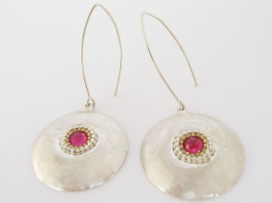 Garnet earrings Dome earrings