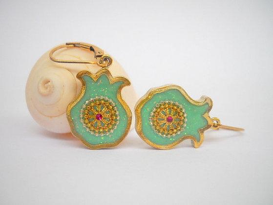 Mint Green Pomegranate earrings
