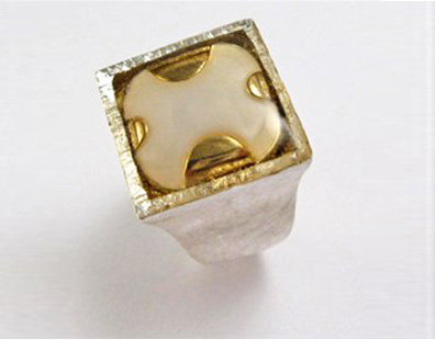 Sterling silver square top ring