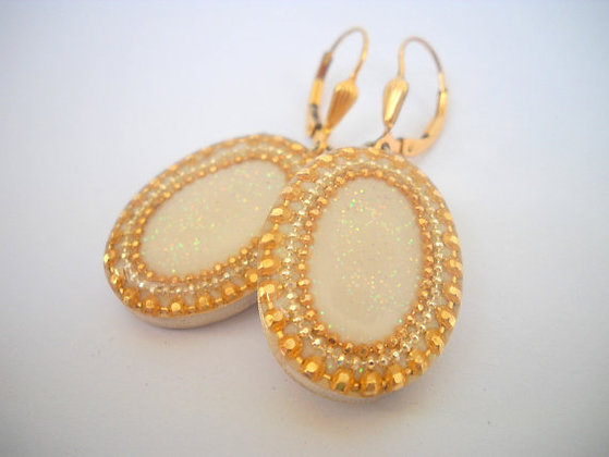 Gold White oval earrings