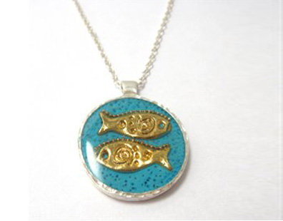 Two fish on blue pendant necklaces