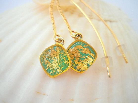 Turquoise diamond shape earrings