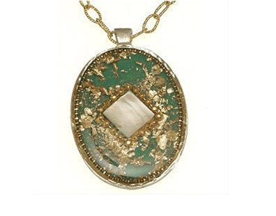 Green elips and  seashell stone pendant