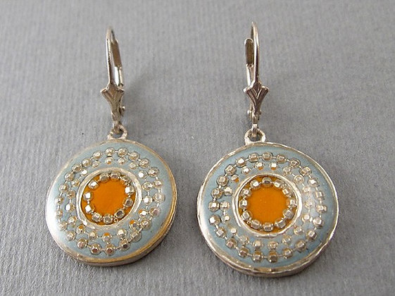 Orange earrings with coral stone