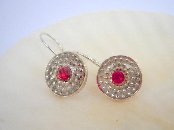 Red garnet stone earrings