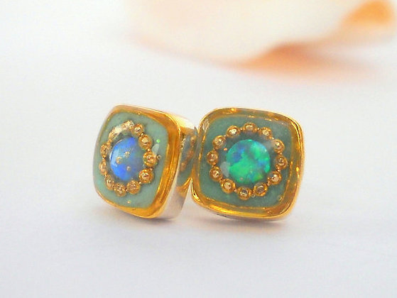 Opal studs Blue green opal earrings